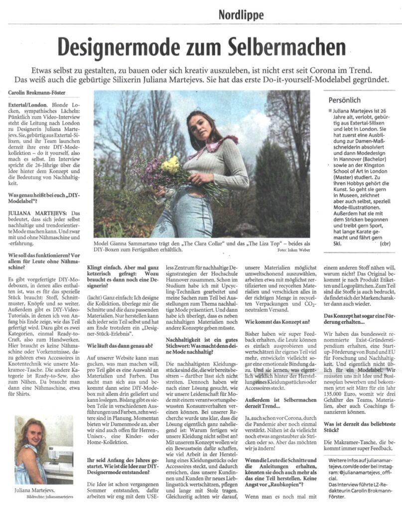 JULIANA MARTEJEVS in der Lippischen Landeszeitung